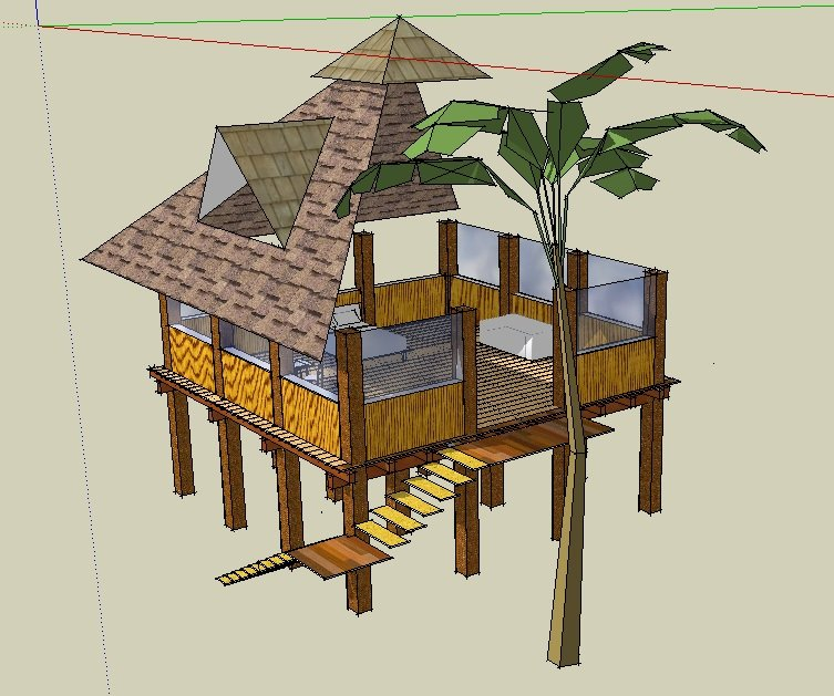 cabaña sobre pilote en zona maya