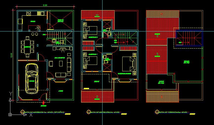 Descarga gratis plano de casa 2 niveles en autocad - Cad casa gratis ...