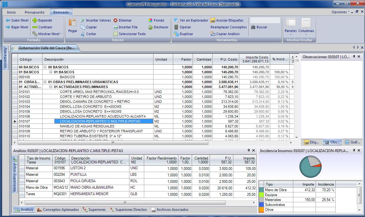 Quercusoft Presupuestos - Software gratuito para la elaboración de precios unitarios y presupuestos