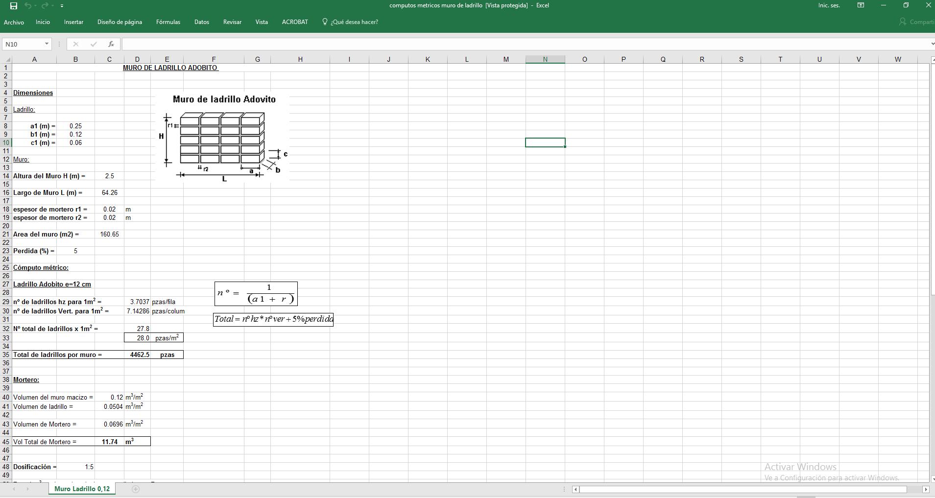 tabla excel para calcular cantidad de ladrillo en muro