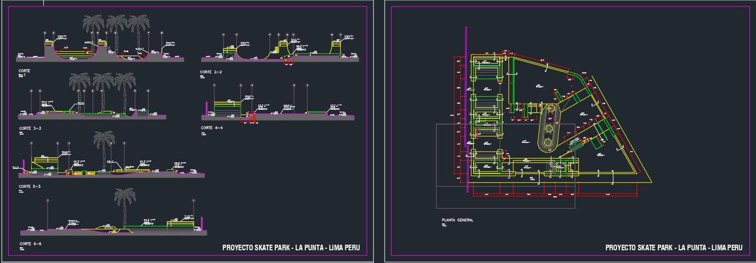 Planos de un Skate Park en AutoCAD