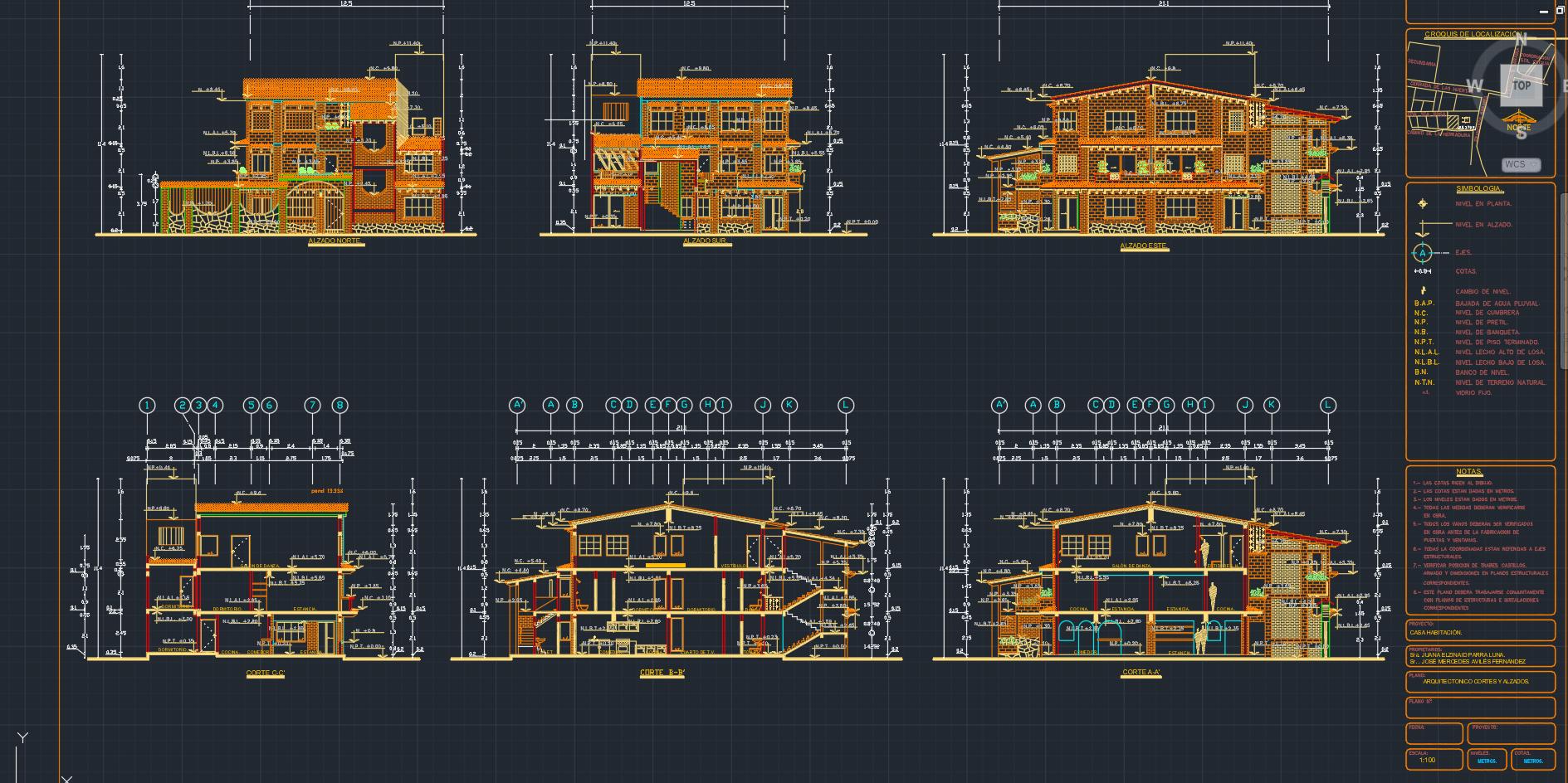 Descarga gratis planos de casa constructivos y detalles for Niveles en planos arquitectonicos