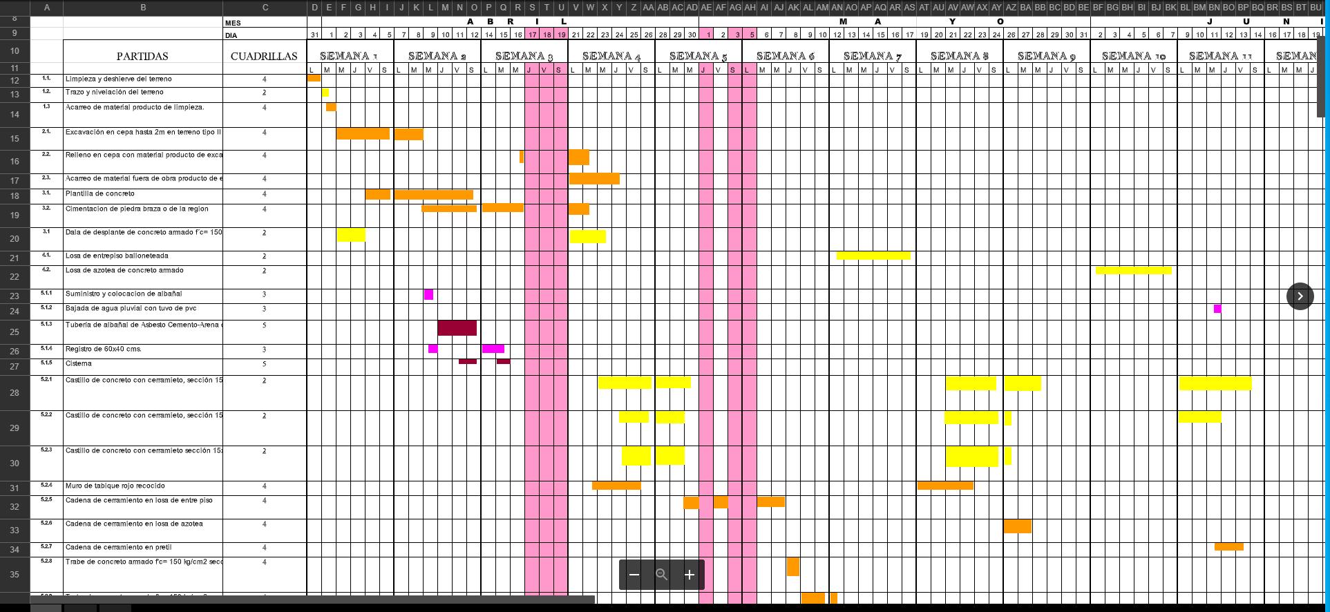 calendario de obra