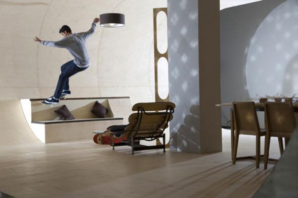 Casa para practicar el skate en su interior
