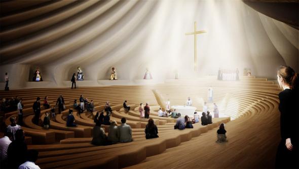 Capilla anfiteatro para la virgen de Guadalupe