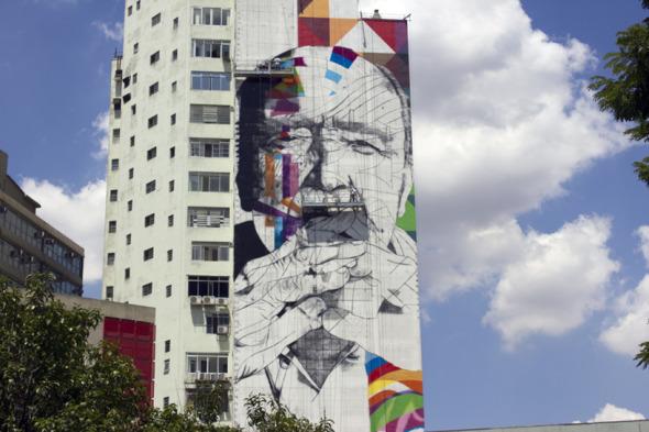 Gigantesco mural en honor a Oscar Niemeyer