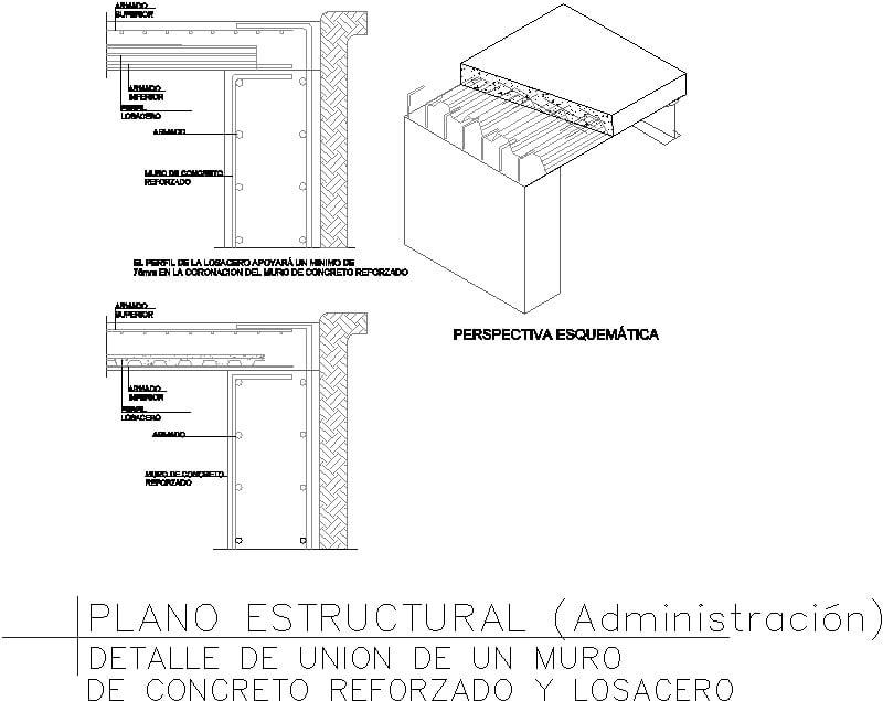 Detalle unión muro-losacero
