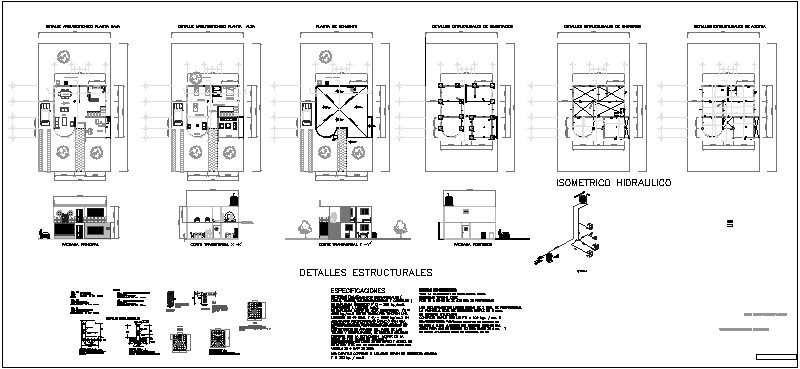 planos de casa de dos niveles, arquitectónico, estructural, fachadas, corte, conjunto