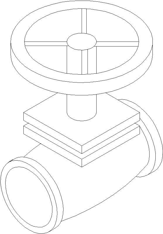 valvula de paso en isometrico
