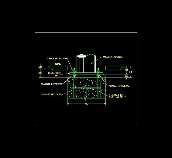 Detalle De Implantacion De Columna Cilindrica