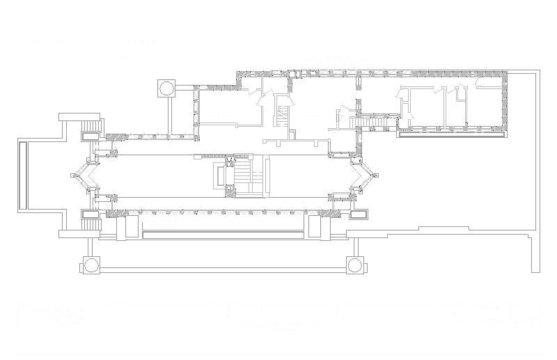 Planta de la Casa Robie de Frank Lloyd Wright