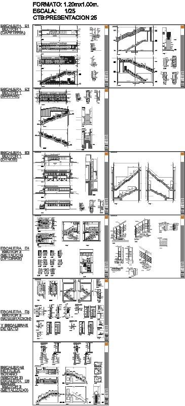 Planos y Detalles Escaleras Metalicas