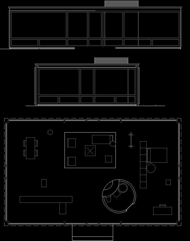 Planos de Glass House de Philip Johnson
