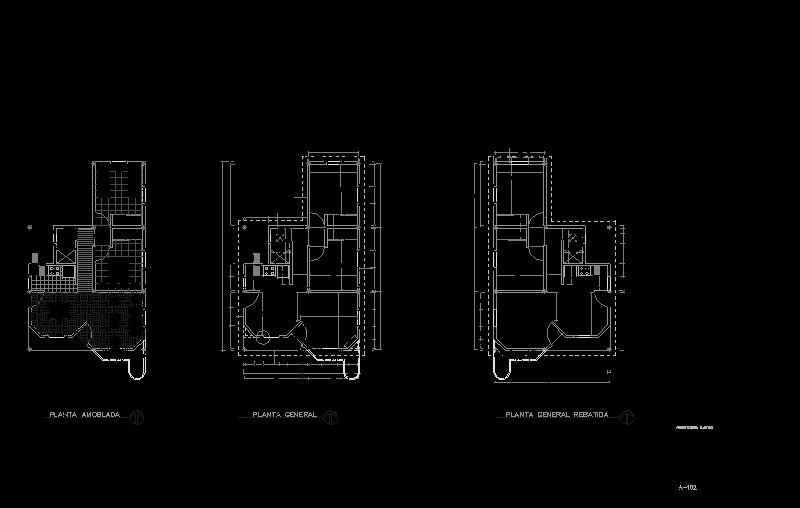 Plano de planta de una vivienda unifamiliar de tipo social de una sola planta
