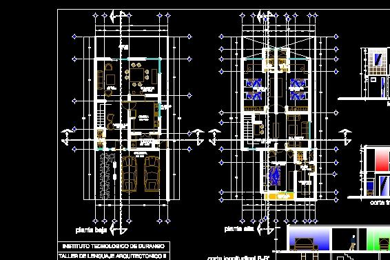 Descarga gratis casa habitaci n de dos plantas planos y for Habitacion 3d autocad