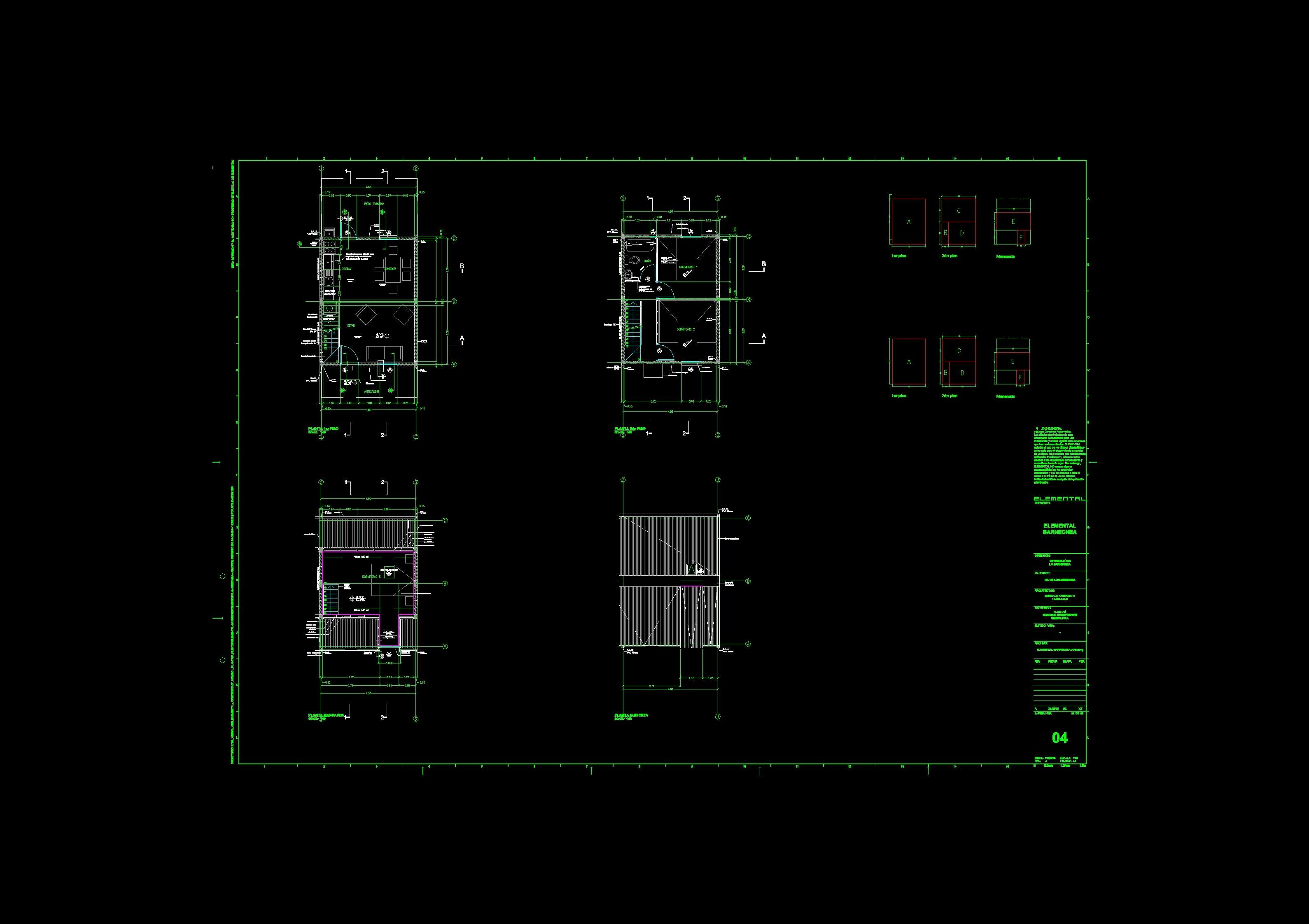 Proyecto de Aravena: Planos Arquitectónicos de BARNECHEA por Aravena