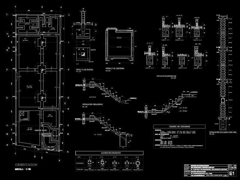 detalles constructivos de zapatas y columnas