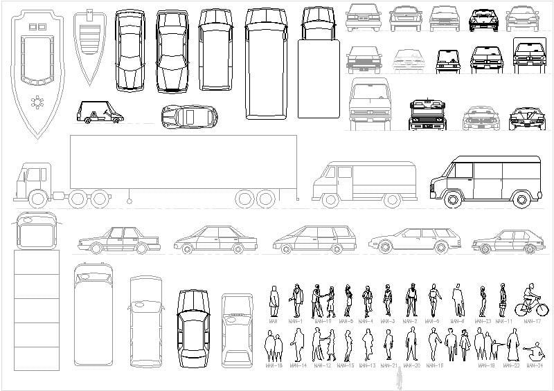 bloques de autos y personas