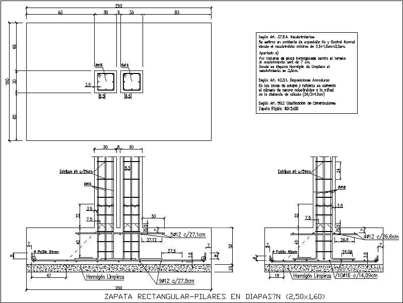 Detalle Armado Zapata Rectangular Columnas En Diapason