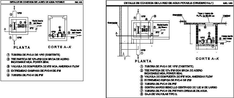 Detalle conexión agua potable con tee partida y válvula compuerta