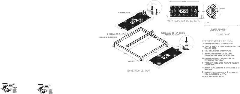 Taoa cuadrada 150x150 CFE Concreto Polimerico