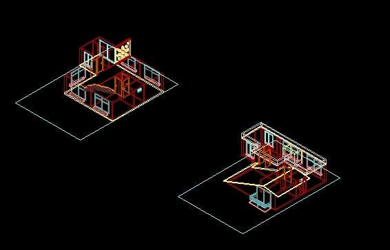 Descarga gratis casa habitacion 3d planos y bloques en for Habitacion 3d autocad