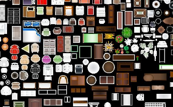 mobiliario autocad a color