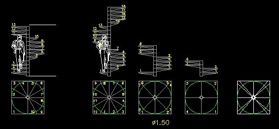 Descarga gratis escalera planos y bloques en autocad for Escaleras 3d max