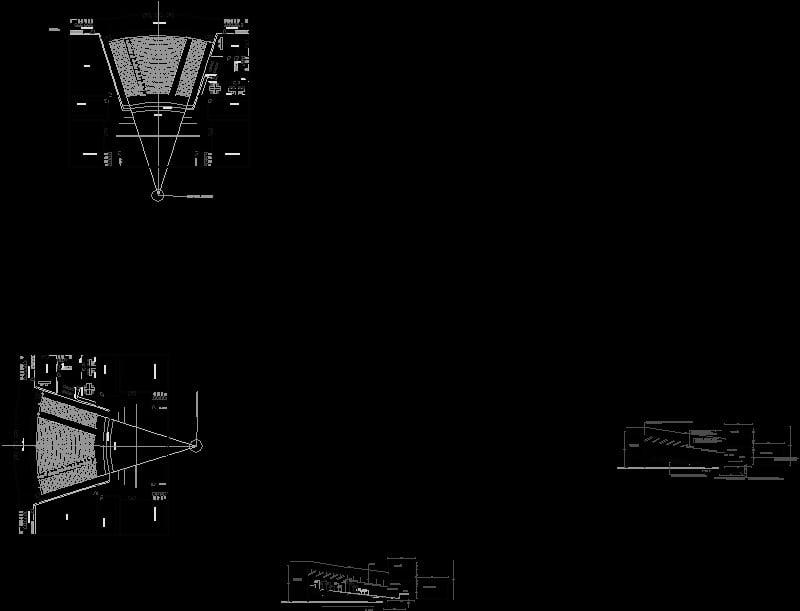 planta geometrica y corte isoptico de un teatro