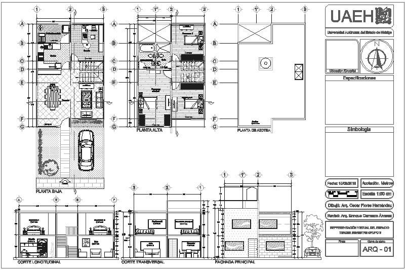 Casa-habitación de 2 niveles (proyecto estudiantil)