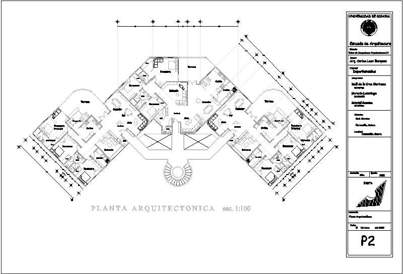 planta tipo de departamentos