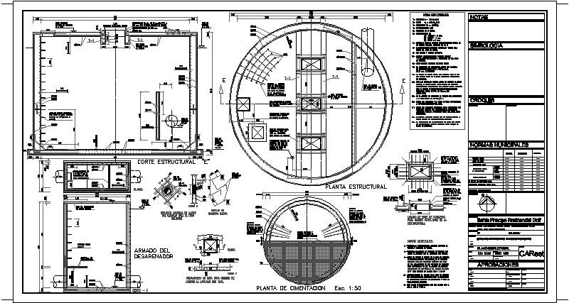 Plano Estructural de un Carcamo de Rebombeo