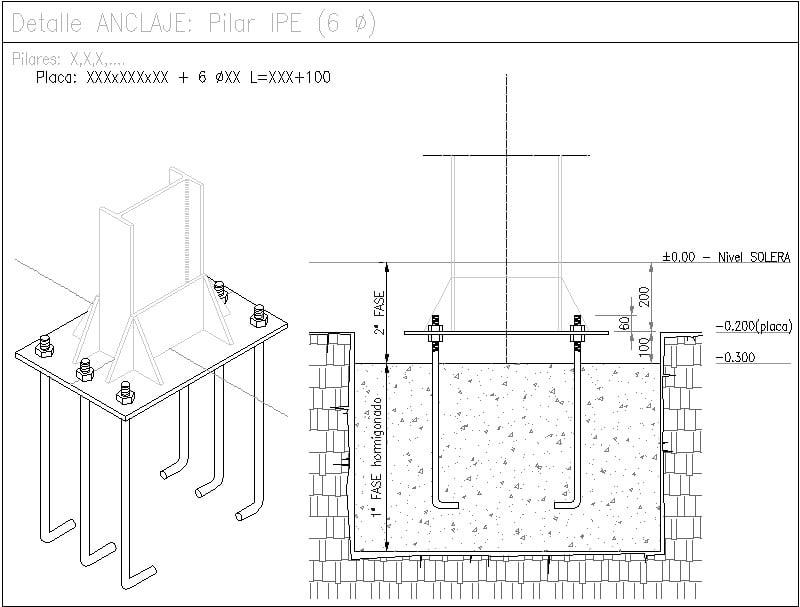 detalle anclaje de columna
