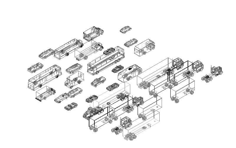 Bloques de autos en 3d