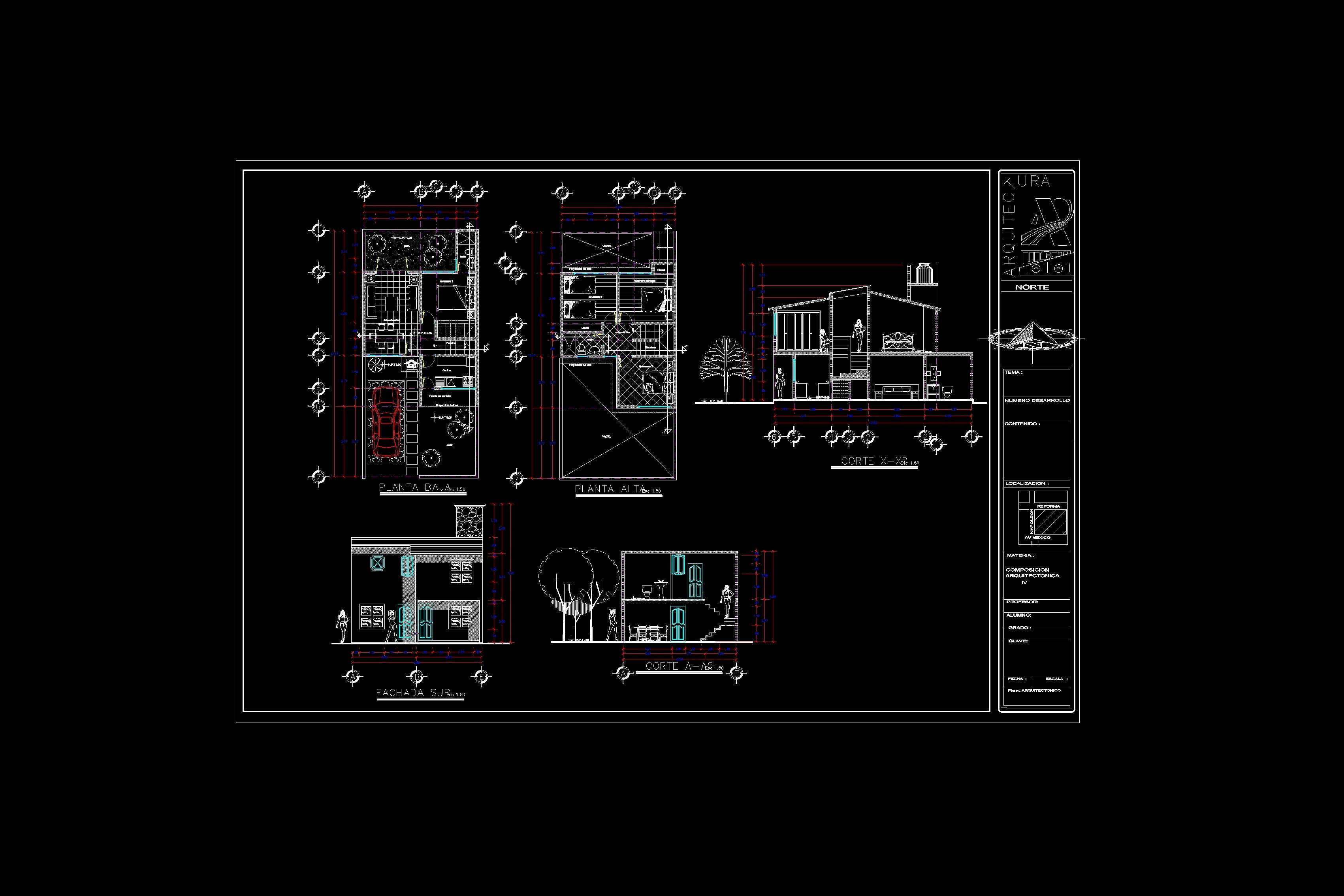 Descarga gratis plano casa habitacion planos y bloques for Arquitectura planos de casas gratis