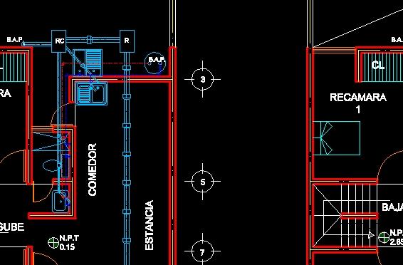 Descarga gratis casa 2 niveles planos y bloques en for Planos de instalacion hidraulica de una alberca