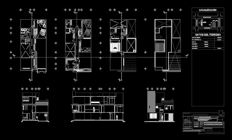 Plano Arq de un Edificio de 3 niveles