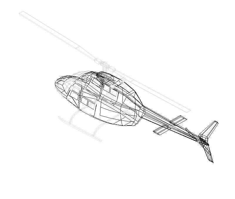 bloque de helicoptero en 3D dwg