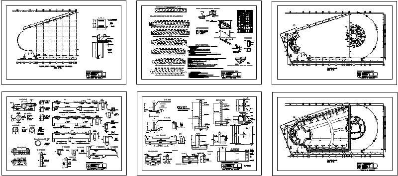 planta estructural auditorio y detalles constructivos