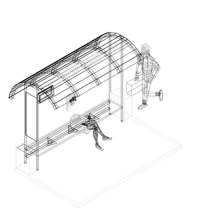 Refugio peatonal con equipamiento urbano