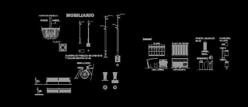 Luminarias, sillas y equipamiento urbano