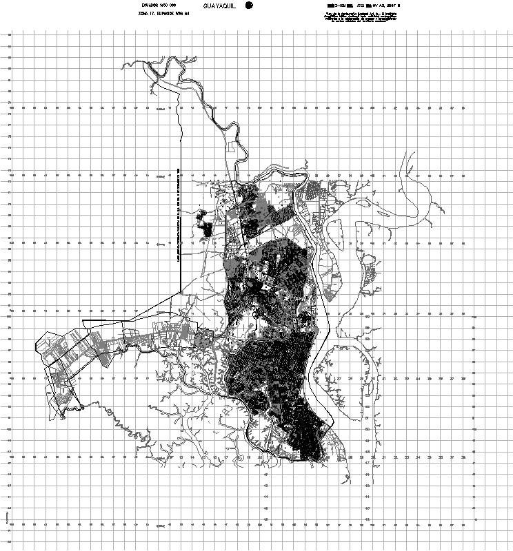 plano de guayaquil con coordenadas UTM