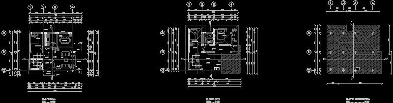 plano arquitectónico casa 2 plantas con cubiertas inclinadas