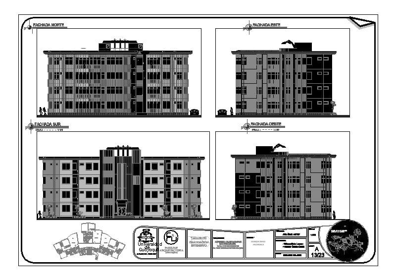 edificio de apartamentos fachadas