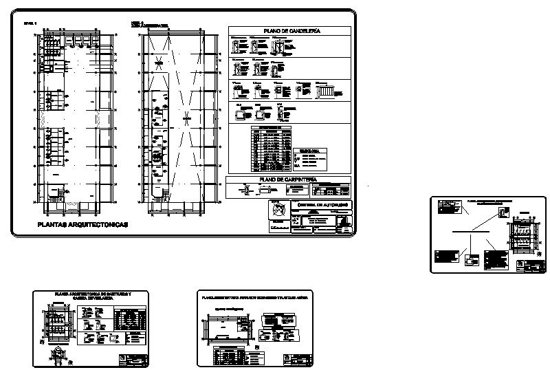 plano de herreria, carpinteria y canceleria de una central de autobus