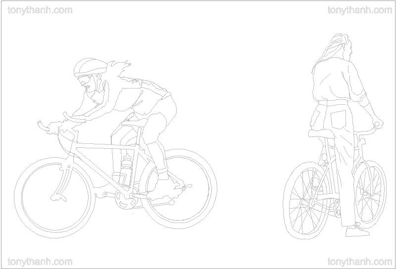 Bicicleta con ciclista en alzado