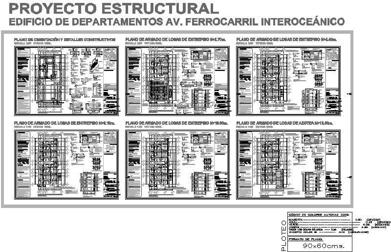Planos estructurales Departamentos 5 niveles
