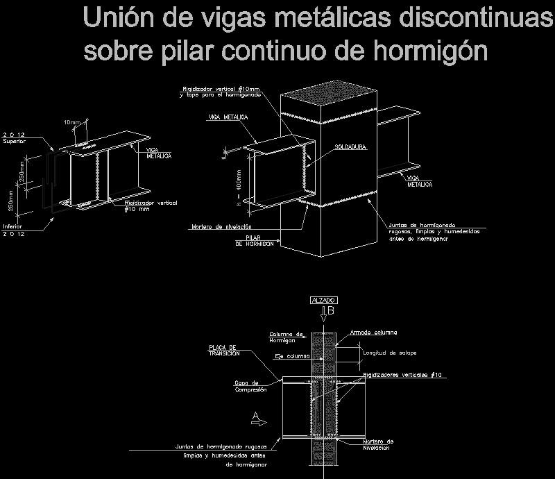 Union de vigas metalicas discontinuas sobre pilar continuo de hormigon
