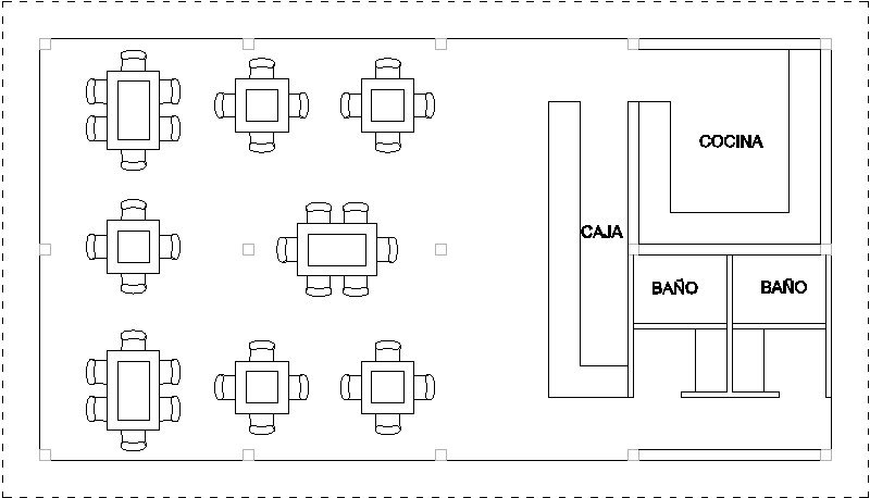 Plano básico restaurante 8 x 15 m