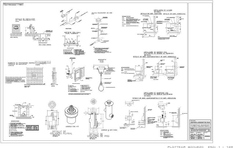 Planos detalles instalaciones hidro sanitarias